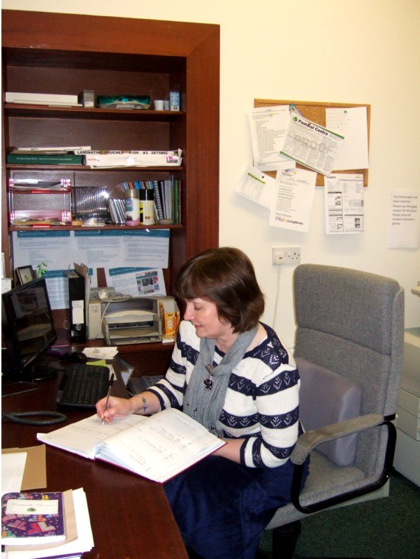 Bernie working in reception at  Pastoral Centre, Letterkenny, County Donegal, Ireland