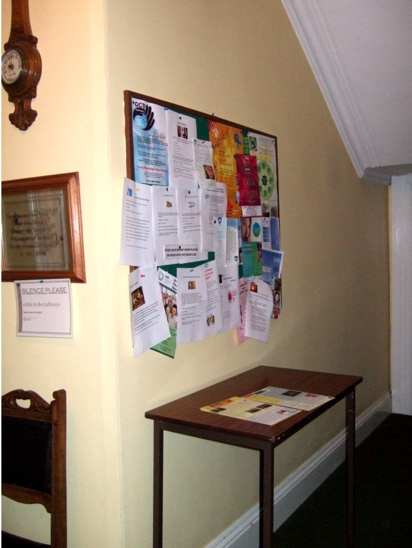 Notice board in corridor at Pastoral Centre, Letterkenny, County Donegal, Ireland